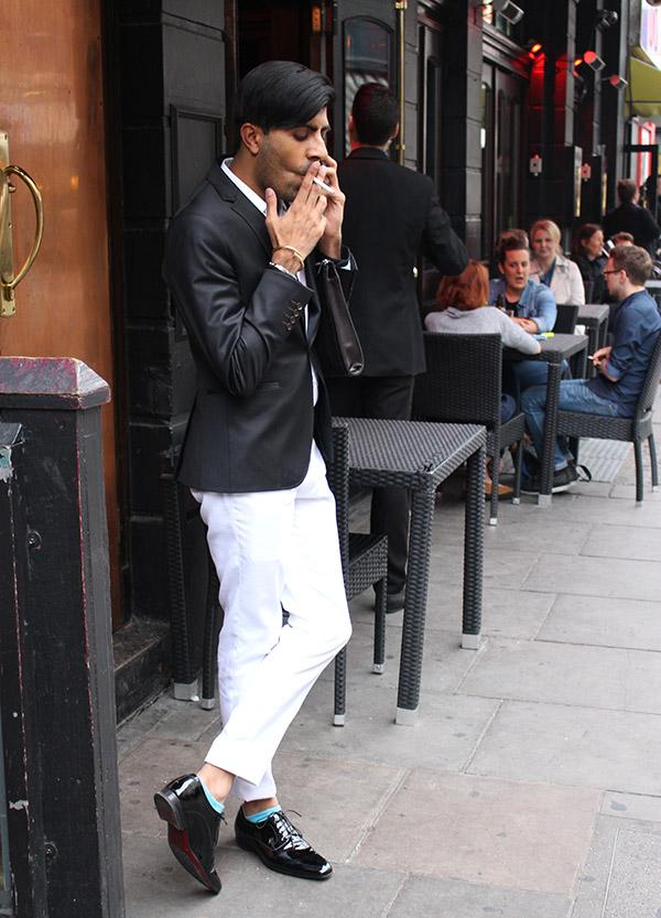 smoking man in white